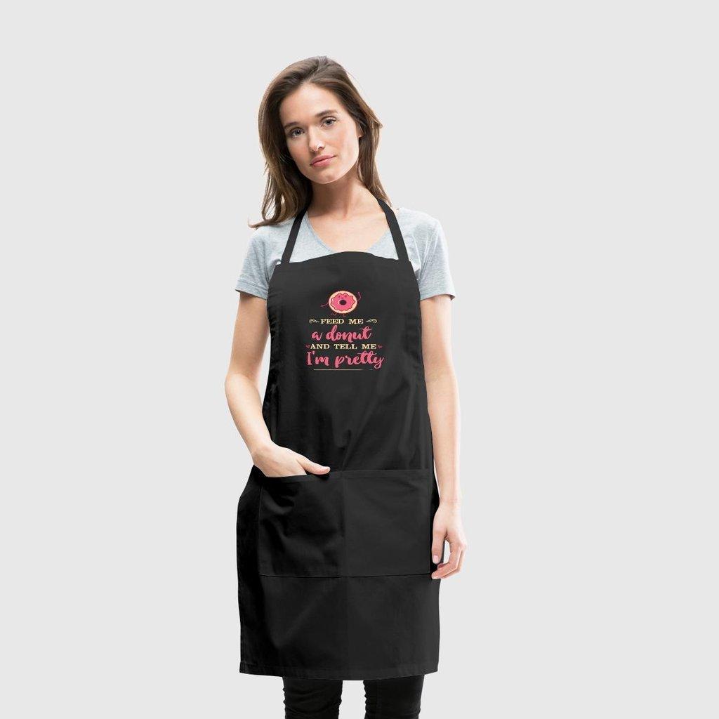 pottelove Feed Me、ドーナツ、料理Polyeste料理人キッチンエプロンメンズレディース、ブラックの   B07F3XSD2J