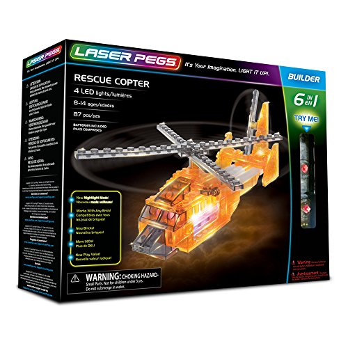 Laser Pegs Rescue Copter 6-in-1 Building Set Building Kit; The First Lighted Construction Toy to Ignite Your Child's Creativity; It's Your Imagination, Light It Up