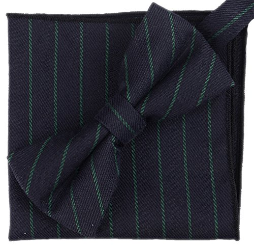 Flairs New York Gentleman's Winter Collection Bow Tie & Pocket Square Matching Set (Prussian Blue/Pine Green [Stripes])