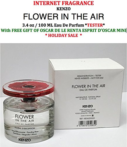 InternetFragrance] Kenzo Flower In the Air 3.4 oz / 100 ml Eau De Parfum Tester Spray For Women by (InternetFragrance) With Free Gift of Oscar De La Renta Esprit D'Oscar Mini - Oscar De Renta Tester