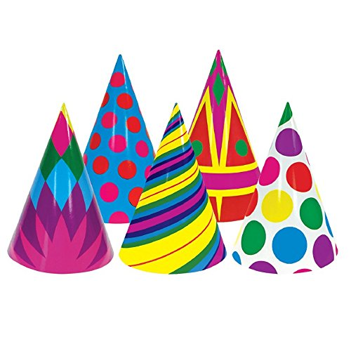 Club Pack of 144 Multi-Colored Geometric Patterned Fun and Festive Party Cone Hat 7''
