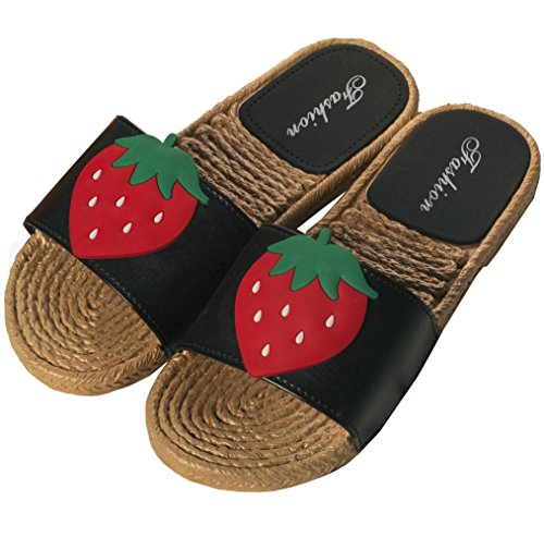 Outdoor Linen Anti Open Flax Black Slippers Toe Kedera Summer Slip Indoor Women Scandals Shoes Strawberry gCq0HwUp