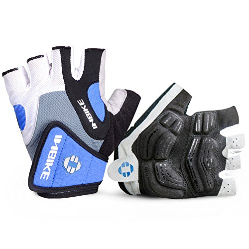 INBIKE 5mm Gel Pad Half Finger Bike Bicycle Cycling Gloves Blue Large (Best Bike Riding Gloves)