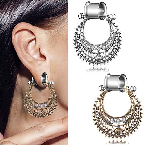 (Modsnde Woman Stainless Steel Ear Gauges Flesh Tunnels Double Flared Ear Stretcher Saddle Dangle Plugs Bohemian Drop Dangle Earrings 1 Piece)