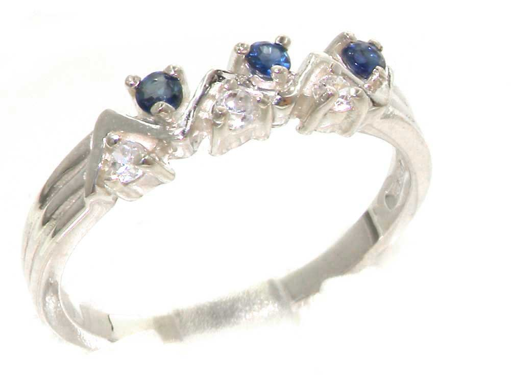 925 Sterling Silver Natural Sapphire and Diamond Womens Eternity Ring - Sizes 4 to 12 Available