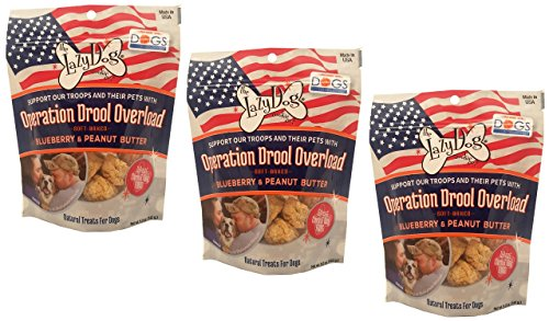 The Lazy Dog Cookie Co... Operation Drool Overload Blueberry & Peanut Butter Dog Treat - 5oz Safety Sealed 3 Pack
