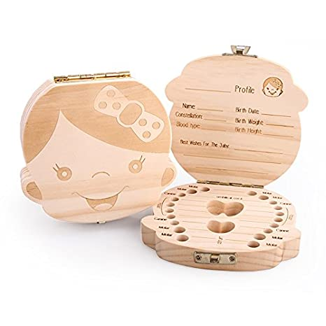 Eproperous Baby Tooth Box Milk teeth Wood storage box for kids Boy/&Girl Tooth Box organizer for baby Save Boy