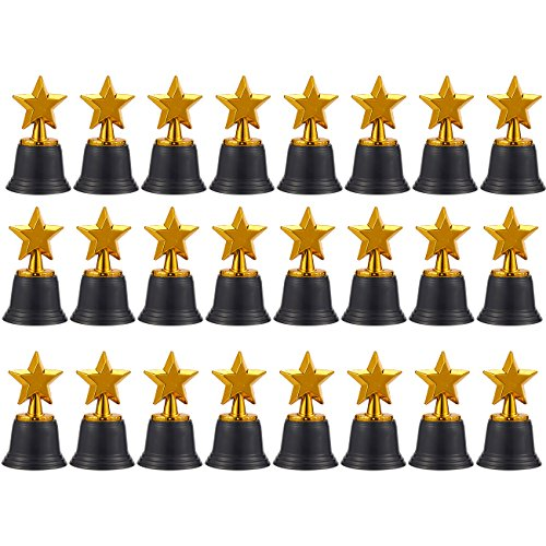 Juvale Star Trophies - Pack of 12 Mini Star Awards, Plastic Trophies for Kids, Gold, 2.6 x 4.7 x 2.6 Inches ()