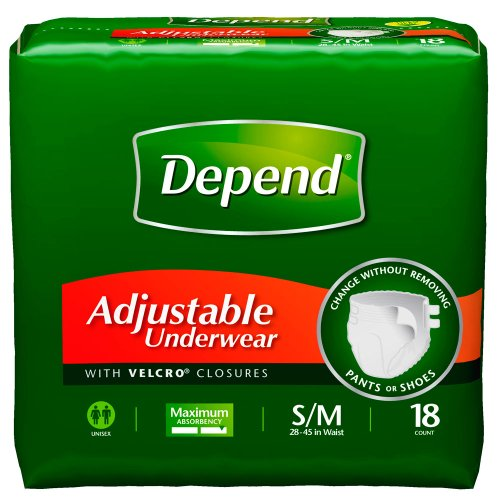 Classic Briefs Plus Protection Case (Depend Adjustable Underwear, Small/Medium, 18-Count Packages (Pack of 4))