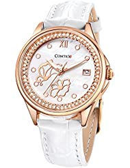 Comtex Ladys Watches Analog Quartz Wrist Watch Rose Gold Case White Leather Band