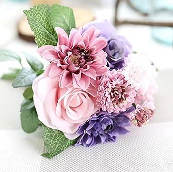 Amazon De Zttlol Rosen Kunstliche Blumen Dahlien Hochzeit Bouquet