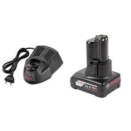 Bosch GAL 1230 CV Cargador de batería + Bosch Professional - Batería de litio GBA 12V 4.0 Ah (compatible con 10, 8 y 12 V)