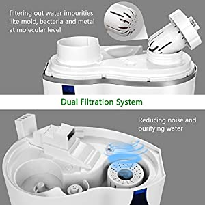 Humidifiers Ultrasonic Cool Mist, 3.8L Large Capacity, Waterless Auto Shut-off, 360° Rotary Mist Outlet, 2 Built-in Ceramic Filter, Ideal for Home & Bedroom & Babyroom & Office, White