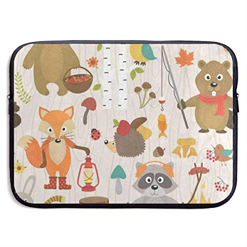 Funny Design Animal Forest Fox Bear Brich Tree Laptop Sleeve Waterproof Neoprene Diving Fabric Protective Briefcase Laptop Bag for IPad, Notebook/Ultrabook/Acer/Asus/Dell (Brich Trees)