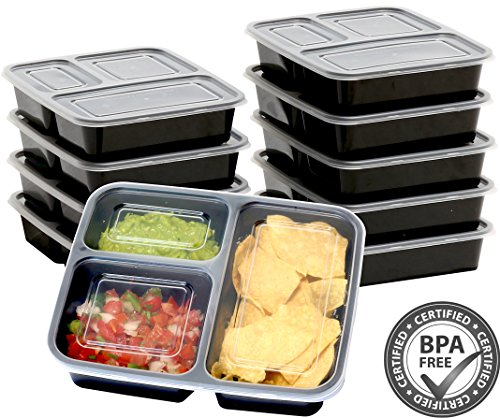 10 Pack - SimpleHouseware 3 Compartment Reusable Food Grade Meal Prep Storage Container Boxes (36 ounces) (Food Prep compare prices)