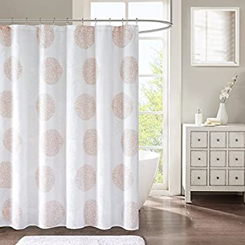 Comfort Spaces Blush Pink White Shower Curtain
