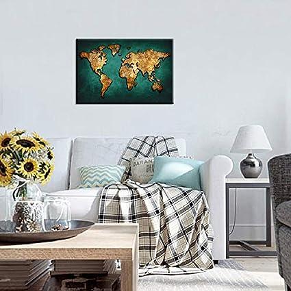 Amazon.com: Huge Black World Map Paintings Print On Canvas HD ... on