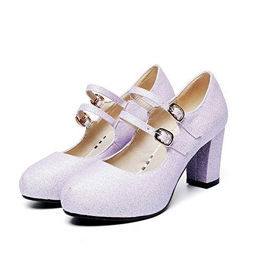 kengät Kierros Pumput Sekoitus Allhqfashion Toe Korkokengät Materiaaleja Solki Suljettu Solid Violetti Naisten gHvqFZA