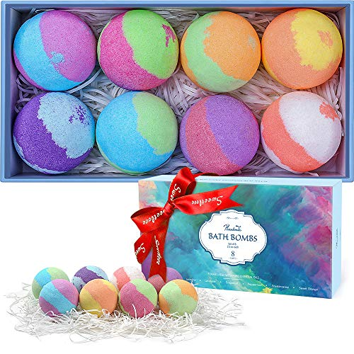 Plantonic Bath Bombs Gift Set, Multi-Colored Vegan Bath Bomb Kit in Luxurious Gift Box with Organic Essential Oils, Exclusive Floating Fizzies with Rich Bubbles (8-Pack)