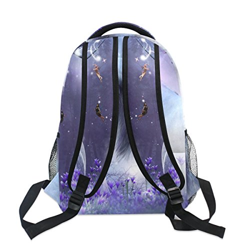 ZZKKO Fantasy Forest Animal Unicorn Boys Girls School Computer Backpacks Book Bag Travel Hiking Camping Daypack