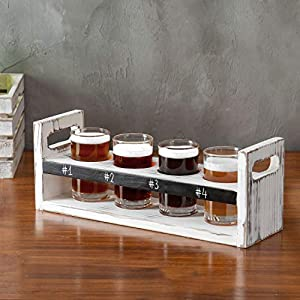 MyGift Wood 5 pc Craft Beer Flight Tasting Serving Set with 4 Glasses & Chalkboard Panel