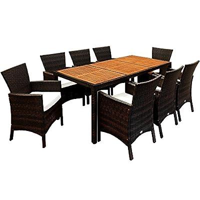 Deuba – Tavolo + braccioli in legno di acacia, 4 + 1/6+1/8+1