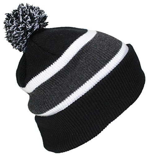 Best Winter Hats Quality Cuffed Cap with Large Pom Pom (One Size)(Fits Large Heads) - (Beanie Stocking Winter Hat)
