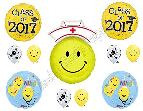 Class of 2017 Nursing Graduation Pinning Celebration Balloon Decorations Supplies Bouquet kit (Nurse Party Decorations)