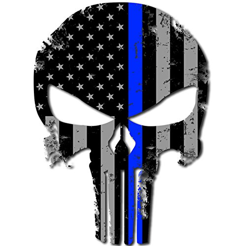 itsaskin1 Punisher Skull Police Blue Line US Sticker Decal America Flag Distressed Blue Lives Matter Large 8