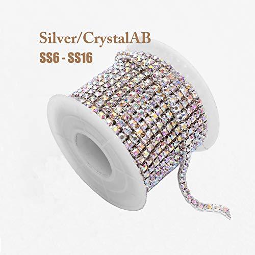1 Roll 10 Yards Crystal AB Rhinestone Trim Cup Chain Sewing Craft Silver Base (Crystal AB, SS16 4mm)