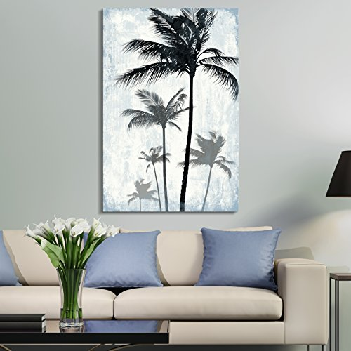 Tropical Palm Trees on Rustic Background