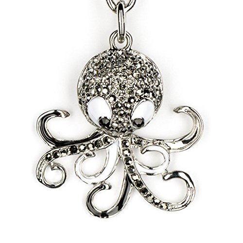 (Lilly Rocket Octopus Squid Sea life Black and White Bling Swarovski Rhinestone Crystal Charm Pendant Purse Bag Key Ring Chain)