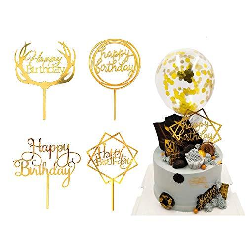 Coriver 10 stuks Happy Birthday Cake Topper, acryl Glitter Cupcake Topper voor verjaardag Cake Decoraties