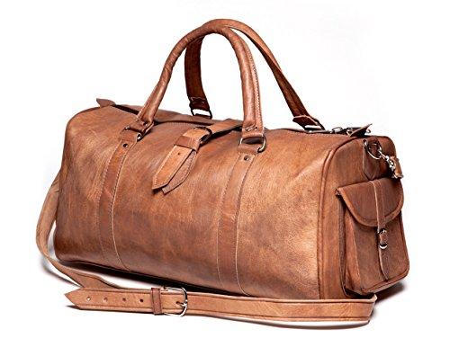 Moroccan Buzz Handmade Leather Duffle Bag (Morocco) Tan by Moroccan Buzz