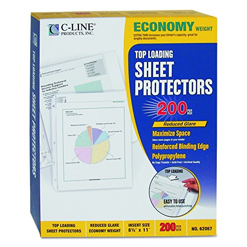 C-Line Top Loading Economy Weight Poly Sheet Protectors, Reduced Glare, 8.5 x 11 Inches, 200 per Box (62067) ()