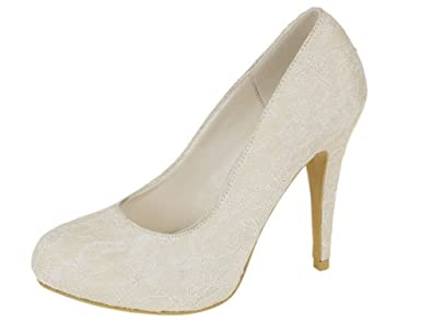 NEW IVORY LACE WEDDING BRIDAL HIGH HEEL PLATFORM COURT PUMP SHOES UK SIZES 3