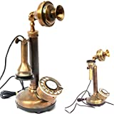 Vintage Antique Candlestick Rotary Dial Phone Brass Finish Table Decorative Telephone