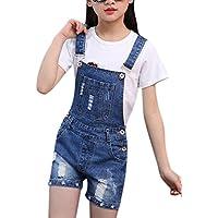Luodemiss Big Girl's Denim Jumpsuit Boyfriend Jeans Denim Romper Shortalls