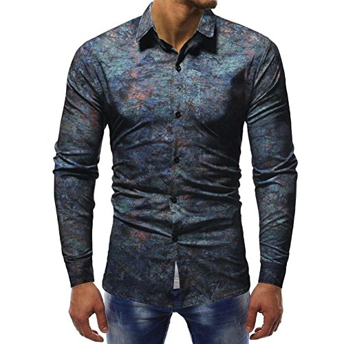 Cropped Ruffled Panties - iLXHD Mens Long Sleeve Slim fit Casual Printed Shirts Tops Blouse (Multicolor 1,US L/CN XL)