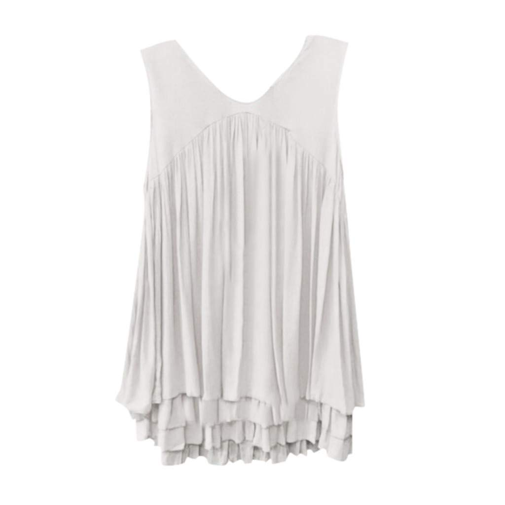 24ca65a79d81 Sanyyanlsy Women's Layed Ruched Pleated Vest Ladies V-Neck Ruffled Tank Top  Casual Solid Color Short Sleeveless T-Shirt at Amazon Women's Clothing  store:
