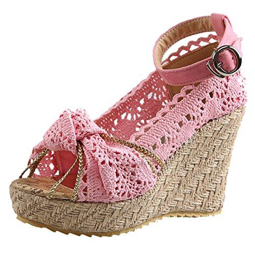 AIYOUMEI Damen Peep Toe Knöchelriemchen Keilabsatz Sandalen mit Spitz und Schleife Elegant Sommer Schuhe Rosa