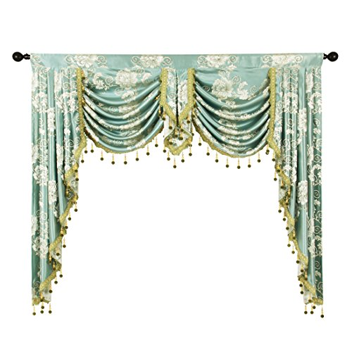 Jacquard Polyester Valance - elkca Golden Jacquard Swag Waterfall Valance Luxury Curtain Valance for Living Room (Floral-Blue, W59 Inch, 1 Panel)