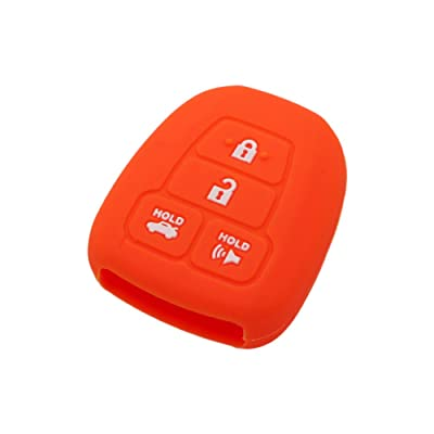 SEGADEN Silicone Cover Protector Case Skin Jacket fit for TOYOTA 4 Button Remote Key Fob CV2407 Orange: Automotive