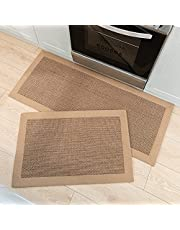 2 Piece Kitchen Rugs and Mats, Non Skid Washable Kitchen Mats for Floor, Absorbent Runner Rugs for Kitchen Floor, Front of Sink
