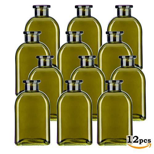 (Glassnow C6054G22-N Roma Glass Bottle No Cork, 8.5oz, Vintage Green, 12 Pieces)