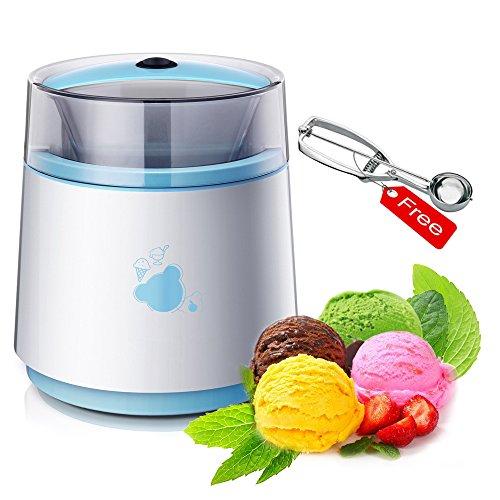 LUCKSTAR Automatic Ice Cream Maker - Homemade Yogurt & Dessert Maker Blender - Mini & Portable Frozen Fruits Sorbet Maker (Scoop Free) (Blue)