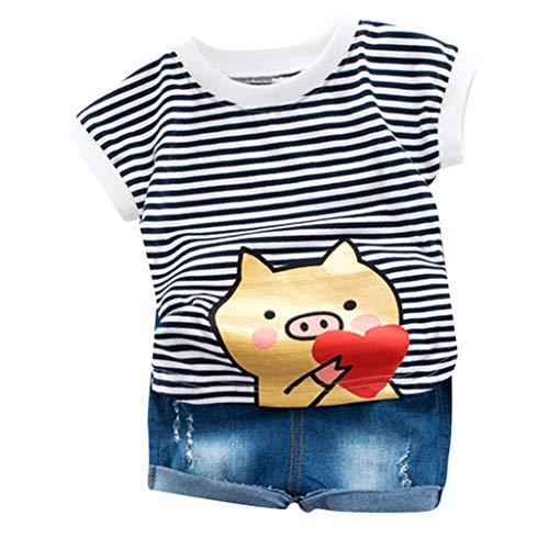 - 2Piece Toddler Infant Kids Baby Boys Outfit Set,Short Sleeve Stripe Cartoon Print T-Shirt Jeans Shorts Pants Suit Black