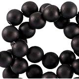 Sadingo Acrylperlen, matte Kunststoffperlen - 100 Stk. - 6 mm - Perlen zum Basteln - Farbe wählbar, Farbe:Schwarz