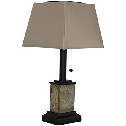 Sunnydaze Outdoor Solar Table Lamp, 16 Inch Tall, Square Slate