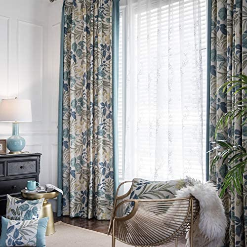 FADFAY Farmhouse Bloom Floral Printed Blackout Curtains for Bedroom -Thermal Insulated Room Drapes for Living Room1 Panel Curtains 52 x 84 Inch, Blue